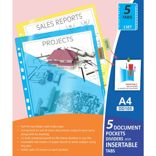 5 Document Pockets Dividers with Insertable Tabs, DD105