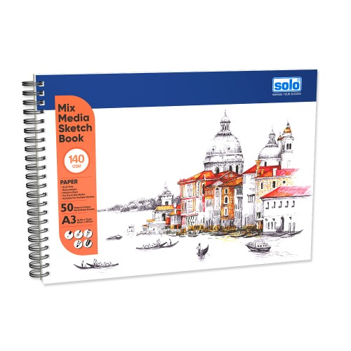 Mixed Media Sketchbook, A3, 50 Sheets, 140 GSM (Landscape) SBA3LD2 (Pack of 2)
