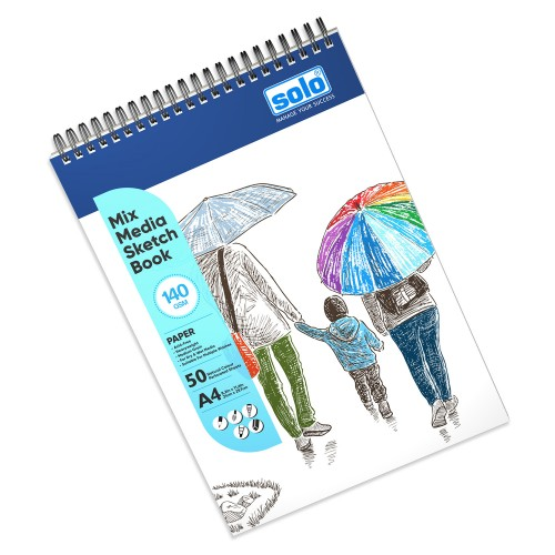 Mixed Media Sketchbook, A4, 50 Sheets, 140 GSM (Portrait) SBA4PD2 (Pack of 2)
